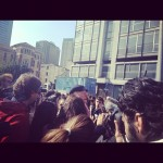 Dario Fo sotto la Torre Galfa - foto di macao su instagram
